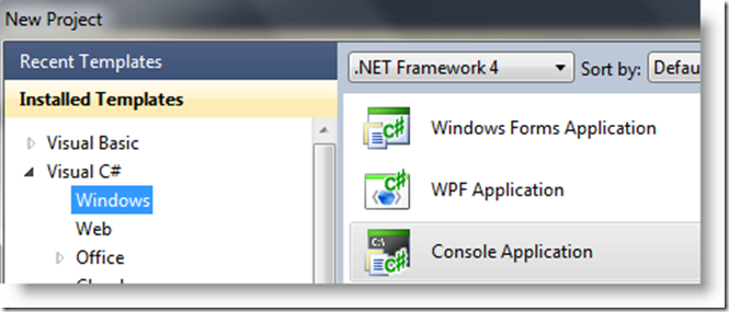 Console Application new project