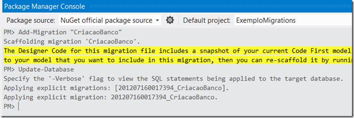 Update-Database command