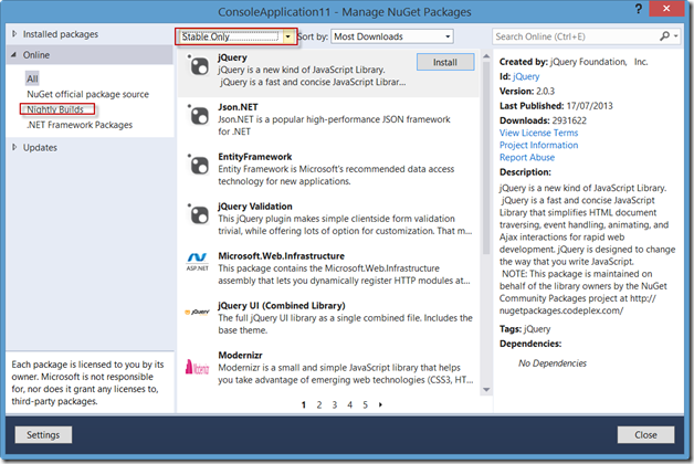 Manage NuGet packages-1