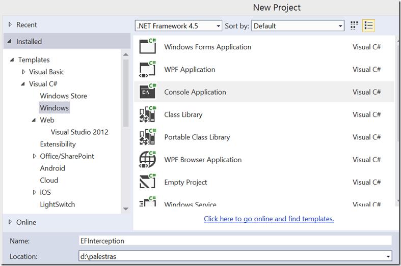 create a Console project using Visual Studio 2013