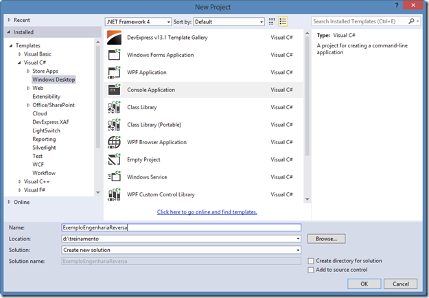 create a new Console project in Visual Studio 2013