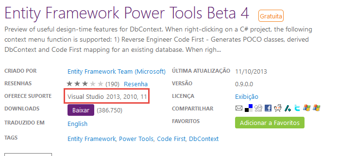 Entity Framework PowerTool no Visual Studio 2015